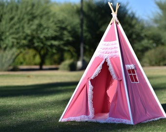 Gladiolus Canvas Kids Teepee, Kids Play Tent, Childrens Play House, Tipi,Kids Room Decor
