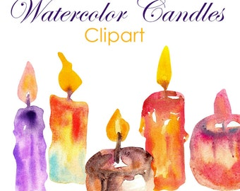 Watercolor Candles Clipart Commercial Use