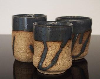 Blue tea cups - Japanese style yunomi tea cups in dark stoneware