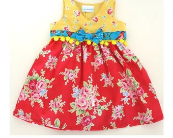 ON SALE Baby clothes, baby girl dress, Bo Ho Baby dress, Bright baby dress, Rosy dress with baubles.  Size 1 and 18 mths  Ready to ship