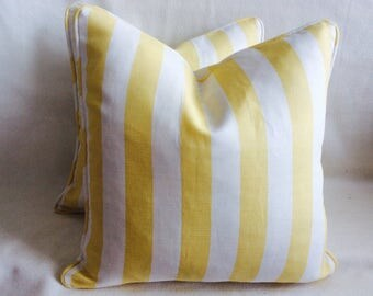 Pair of French Stripe Designer Pillow Covers - Pale Yellow/ Off White - Custom Piping - 18x18 Covers