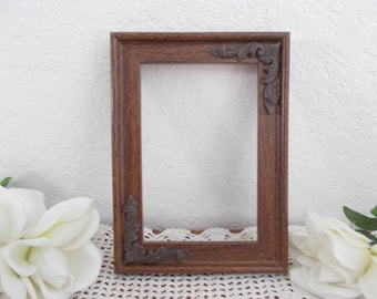 Vintage Ornate Picture Frame 4 x 6 Photo Decoration Mid Century Country Farmhouse Man Cave Western Ranch Retro Cabin Home Decor Gift Him Her