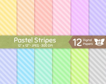 50% OFF Pastel Stripes Digital Paper, Diagonal Striped Papers, Soft Color Seamless Pattern, Tileable Repeatable Background, Commercial Use