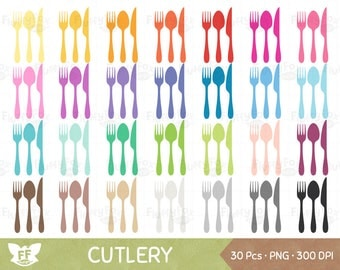 50% OFF Cutlery Clipart, Eating Utensils, Silverware, Spoon Knife Fork Kitchen Food Meal Dinner Dining Icon Clip Art Rainbow, Commercial Use