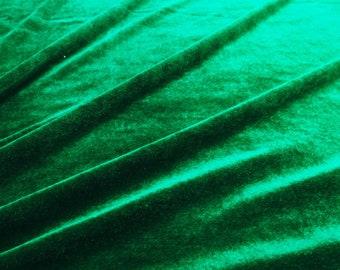 "Dark Green Velvet Fabric, Decorative Fabric, Stretch Velvet, Craft Fabric, 58"" Inch Wide Fabric By The Yard ZVE90J"