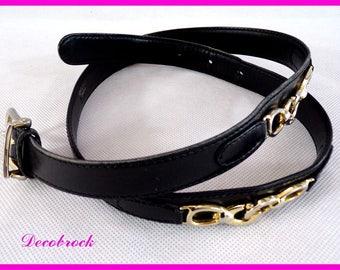 Authentic belt vintage leather black brand CELINE Paris logo vintage France vintagefr mark couture paris