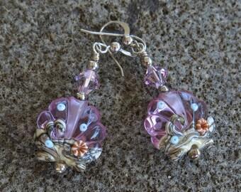 Lilac Earrings, Shell Lampwork Earrings, Beach Earrings, Beach Jewelry, Lavender Glass Earrings