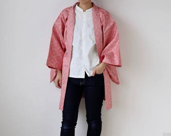 Hexagon kimono jacket, Haori, Japanese clothing, pink, Ogi /1375