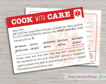 Allergy Alert Dining Card, Printable Allergy Card, Food Allergy Alert, PDF Food Allergy Card, Chef Allergy Alert Card