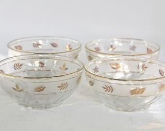 SALE! Vintage Libbey Gold Leaf Finger Bowls/Set of 4