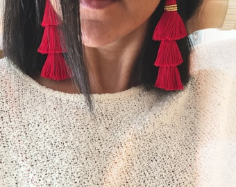 Bohemian Tassels in Royal Red