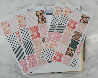 28 Large or 42 Small Floral Chic Tab Stickers