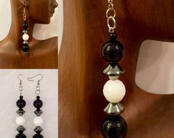 White Agate, Onyx and Hematite Drop Earrings