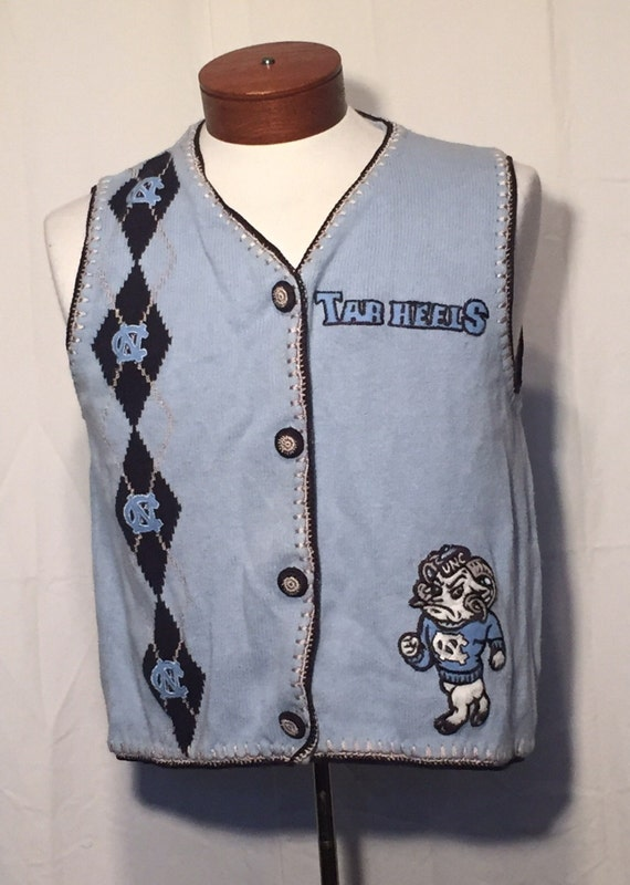 Vintage Unc Carolina Blue Tarheels With Argyle Knit Sweater