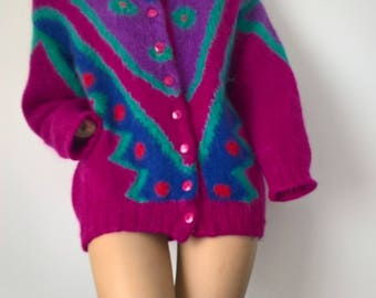 Vintage 80s Abstract Patterned Mohair Cardigan size S