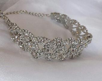 SILVER Rhinestone Choker, Modern Choker Wedding Jewelry (C0517S)