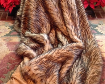 "Heavyweight Falcon Fox Fancy Faux Fur Throw/77""X62""/Warm-Cozy/Machine Wash and Dry/Perfect Gift for Him or Her/Gift-Ready Box/Ready to Ship!"