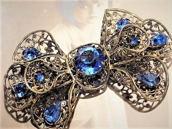 Art Deco Rhinestone Brooch Signed CZECHOSLOVAKIA