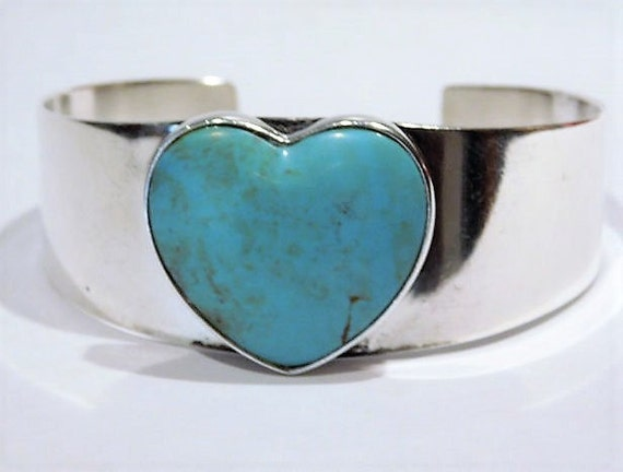 Vintage Turquoise Heart Cuff Sterling Silver Jay King Genuine Turquoise Gemstone Cuff DTR Desert Rose Trading Company Southwestern Jewelry