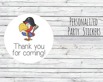 12 or 20 or 35 Personalized Pirate Parrot Stickers, Movie Birthday,Movie Theme, Birthday Party Favor, Thank You Tags, Stickers Choose Size