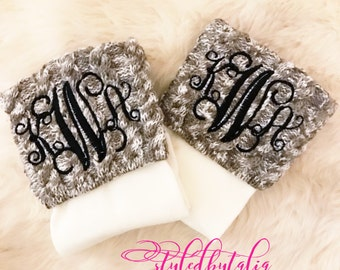 Monogrammed Cable Knit Boot Socks
