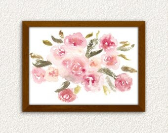 Watercolor Flower Print. Floral Print. Floral Painting Print. Bedroom Decor.