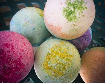 Bath Bombs handmade fizzies lavender sugar, rosemary orange artesian bath