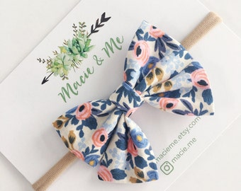 Periwinkle Rosa Floral Sailor Bow / Sailor Bow / Nylon Headband / Girls Bow Headband / Rifle Paper / Macie and Me