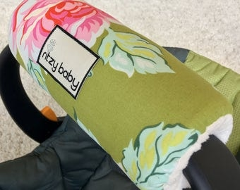 ONLY 3 LEFT Hello Roses Arm Pad for Infant Car Seat Handle, Floral Arm Pad, Green Floral Arm Cushion for Car Seat Handle, Baby Shower Gift