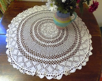 Vintage Hand Crocheted White Table Clothes White Crochet Dining Room Living Room Decor