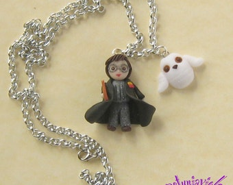 Harry Potter and Edvige Necklace -Harry Potter Polymer Clay- Harry Potter Jewelry