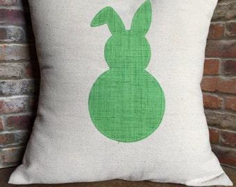 Easter Pillow Cover, Easter Bunny Pillow, Throw Pillow Cover, 16x16, 18x18, Canvas Pillow Cover, Pillow Sham, Easter, Rabbit Pillow Cover