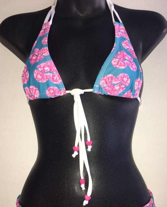 ORIGINAL *** MissManeater SWEETHEART ring top thin halter sliding boutique bikini top *** MICRO coverage!