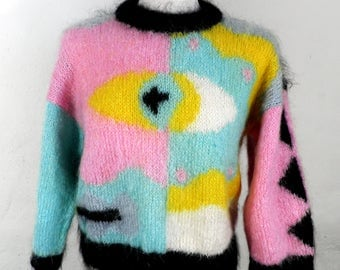 Vintage Hand Knit Mohair Wool Jumper      Art     Eye Design        Picasso-Like