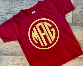 Girls Monogram School Spirit Shirt- Kids Graphic Tee- school spirit-team shirt