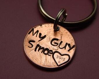 Custom my guy since lucky penny keychain.  Boyfriend gift, anniversary, husband, for him, birthday gift, valentine's day