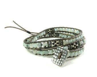 Three wrap bracelet with pale blue stones