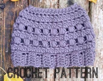 Crochet Bun Beanie PATTERN- Crochet Ponytail Hat PATTERN- Crochet Hat pattern- Bun Beanie Pattern- Top knot Beanie Pattern-