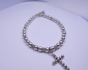 Beaded sterling silver bracelet with cross 7 1/2 inches long