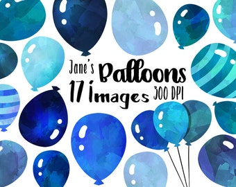 Blue Balloons Clipart - Watercolor Balloons Download - Instant Download - Watercolor Celebration Items