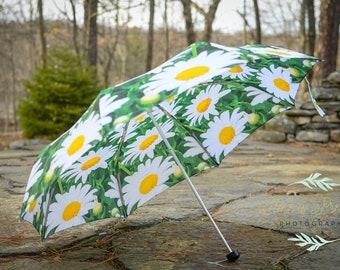 "Custom Designed Umbrella floral photography,41"" span,MANUAL Lightweight Umbrella,Flower Print,Daisy Photography,Rain"