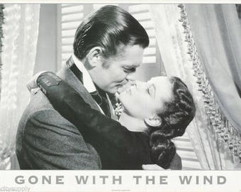 Gone With The Wind Vivien Leigh Clark Gable   Rare Vintage Poster