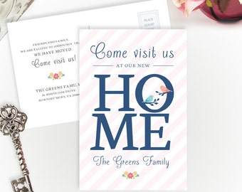 PRINTED new home moving announcements | 4X6 we have moved postcards | Change of address cards | Home sweet home