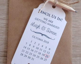"""Save The Date """"Pencil Us In"""" (10 standard tags)"""