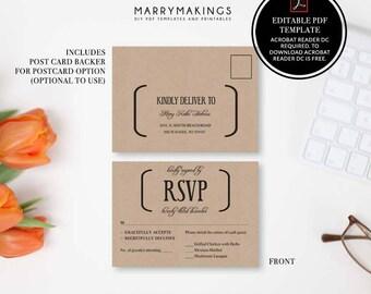 rsvp postcard, rsvp, printable, wedding template, diy, wedding rsvp, rsvp template, wedding, printable wedding, postcard, pdf, template, 11