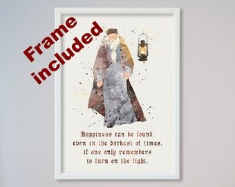 Albus Dumbledore Quote Harry Potter FRAMED Happiness can be found even in the darkest of times if one only remembers to turn on the light