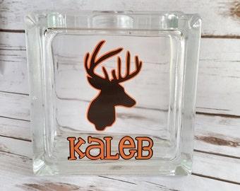 Deer Bank - Piggy bank - Personalized Bank - Woodland bank - gift for teen - glass block bank - money gift - hunter gift - deer decor