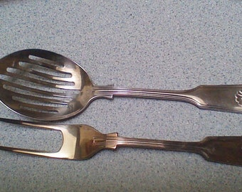 Silverplated Serving Spoon & Fork