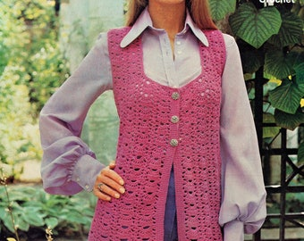 PDF Vintage 1970s Ladies PINK Waistcoat Crochet Pattern Maxi Sunbeam 143 Shell Lacy Sweetheart Medieval Boho Groovy Hippy