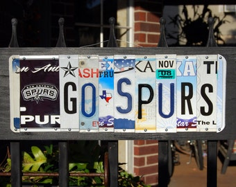 GO SPURS license plate sign/ San Antonio Spurs